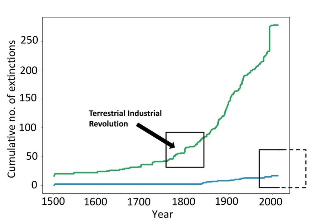 cumulative extinctions land and sea McCauley et al Science 2015