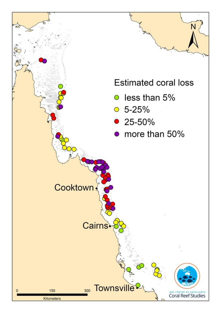 map GBR bleaching 2016 Coral COE